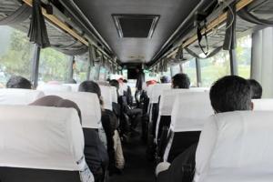 Di dalam bus sebelum keberangkatan